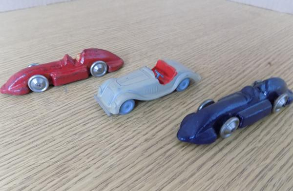 Vintage Crescent toys, 1950's racing cars, x 3 (mint condition)