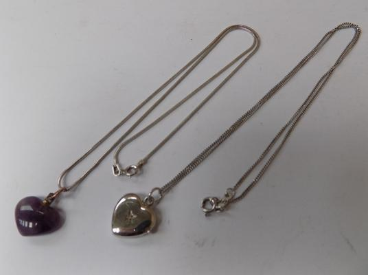 2x 925 Silver necklaces-1 with heart locket-1 with amethyst heart