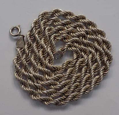 Heavy long silver rope chain