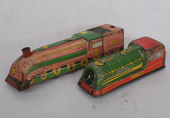 Tin 1930's trains, GTP 527 & 568, Clam Toy Products