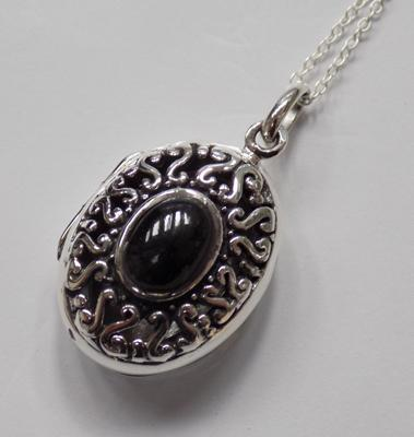 Silver & jet locket on silver chain
