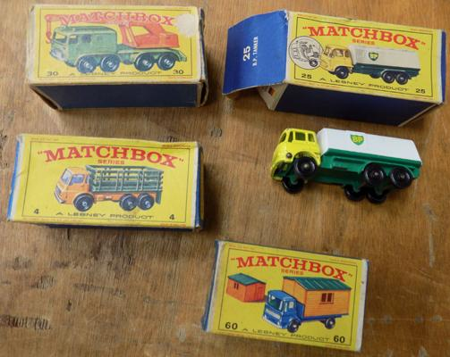 4 x original Moko Lesney Matchbox cars in boxes