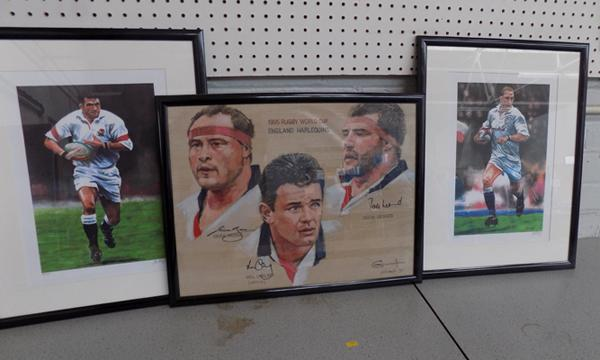 Three limited edition signed rugby player prints