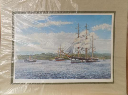 Framed limited edition print by artist James Burnie, RSA, signed by artist, Melbourne Bound, 14 x 34 inches