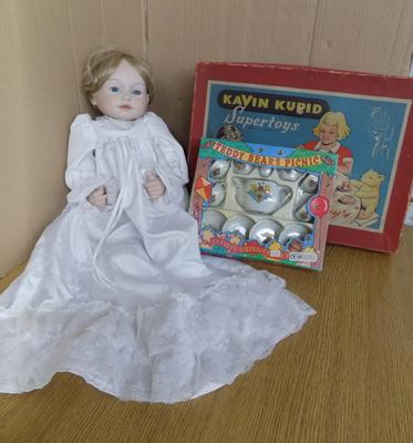 Large bisque headed girl doll, 18 inches +  2 boxed 1950's children's tea sets