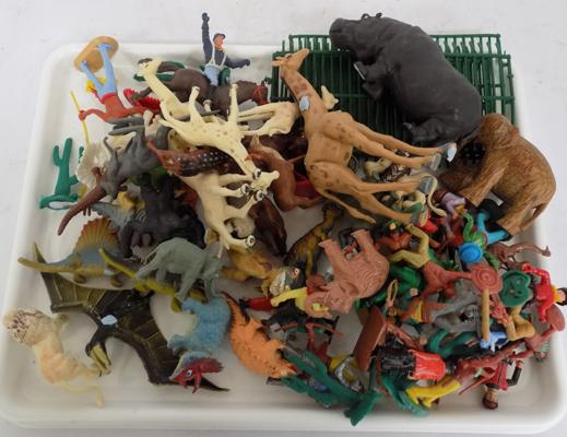 1970's Plastic animals, dinosaurs, cowboys & indians