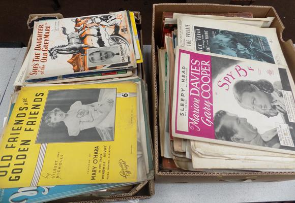 Two boxes of sheet music