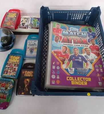 4x Topps match attax football card folders/loose cards/tins/4x Top Trumps