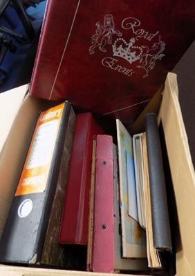 Box containing 9 stamp albums