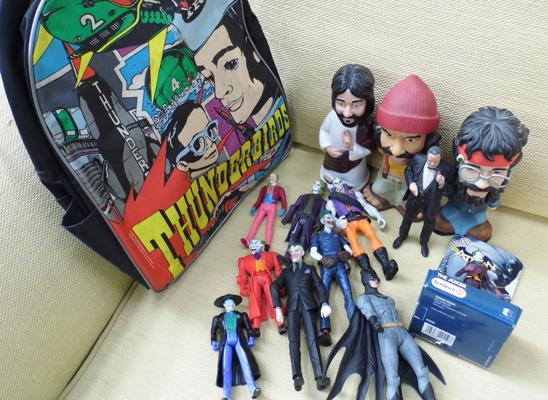 Selection of Joker figures &others, incl. Thunderbirds backpack