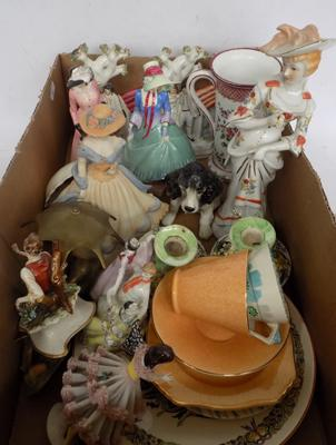 Box lot of collectables, incl. Myott & Royal Winton trios, Staffordshire flatbacks etc...