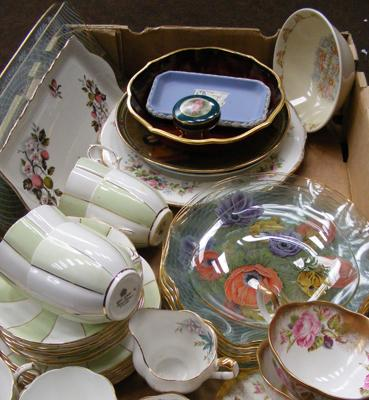 Box of collectables inc Royal Albert, Limoges, Bunnykins etc