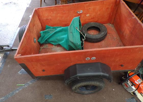 Small trailer, 3 feet x 4 feet, new wheel bearings, spare wheel, canopy cover - ideal for camping