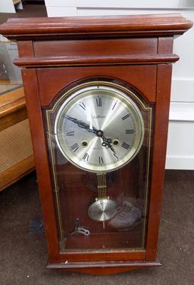 Waltham 31 day chime wall clock with key & pendulum