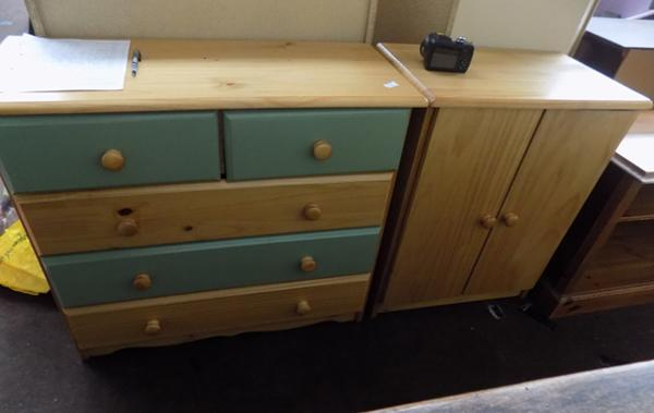Pine chest of drawers and pine cupboard