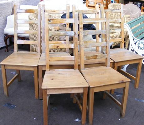 Six pine dining chairs