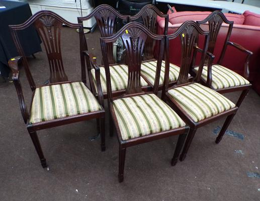 6x Dining chairs inc 2 carvers
