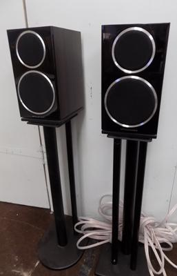 Pair of Wharfedale speakers on stands