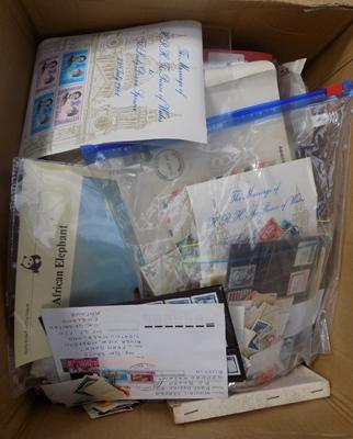 Box of mint & used stamps on stock cards etc...