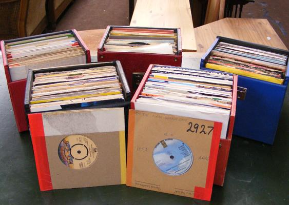Large collection of 7 inch singles in five cases