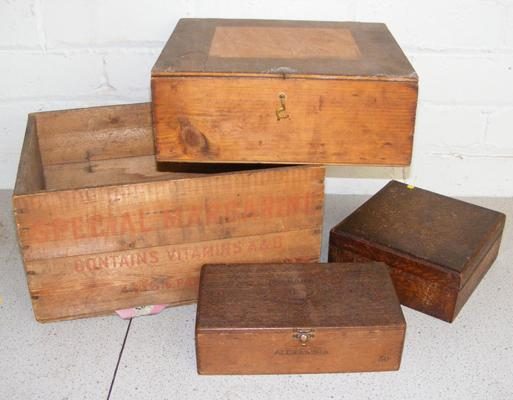 Selection of vintage wooden boxes & crate