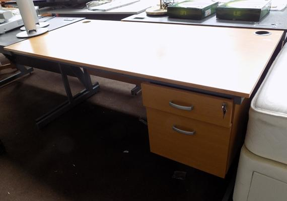 Beech top office desk with two drawers