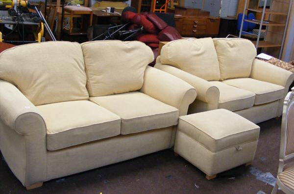 Two 2-seater settees + matching pouffe