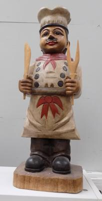 2 foot tall, hand carved solid wood chef