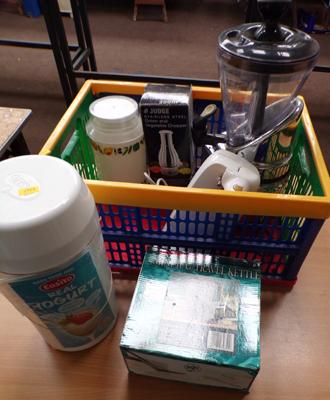 Box of assorted kitchen appliances (sold as seen), includes juicer, ice cream maker, yoghurt maker