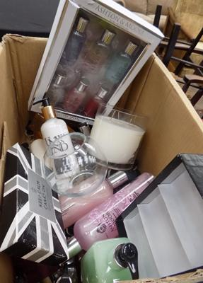 Box of mixed cosmetics - as seen