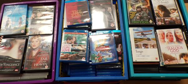 3 x boxes of Blu Rays & DVDs