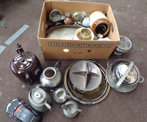 Box of pewter & others