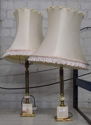 2x Electric lamps with shades