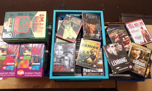 3 x boxes of Blu rays/DVDs, Language Course & Mobile Movie Maker