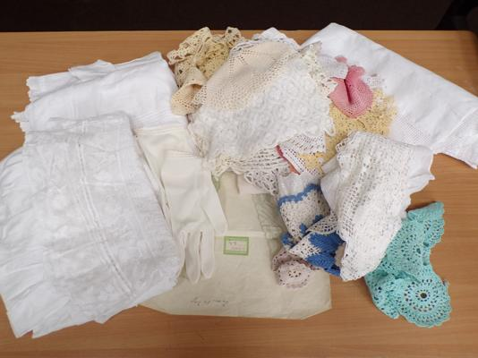 Selection of linens/lace/christening gown