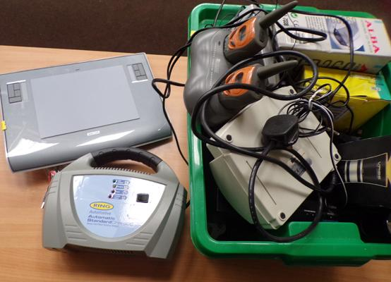 Box of assorted electrical goods (sold as seen) - includes clock radios, Walkie Talkie set, battery charger