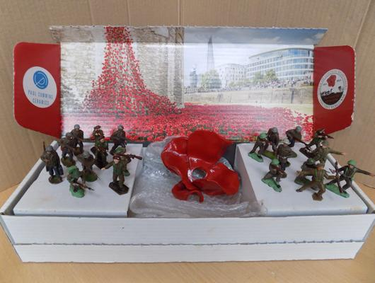 20 collector's vintage soldiers, 2 inches tall, + Tower of London 2014 - Paul Cummings collector's ceramic poppy