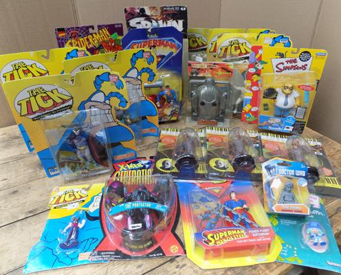 Carded collectable toy figures - The Tick, Spiderman, Dr Who, X-Men, etc...