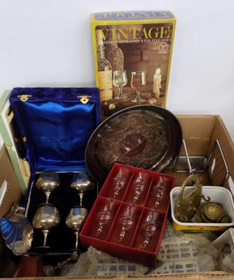 Mixed box of collectables inc silver plate & mixed vintage items