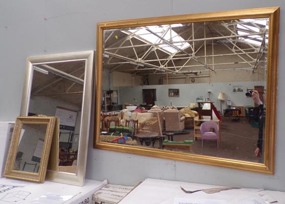 3x Framed wall mirrors-largest approx 52 x 38 inches