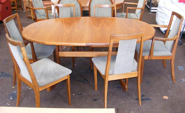 G Plan extending table + six chairs