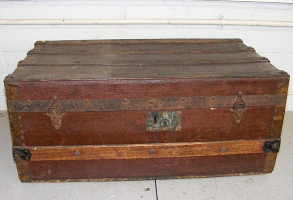 Large wooden travel trunk