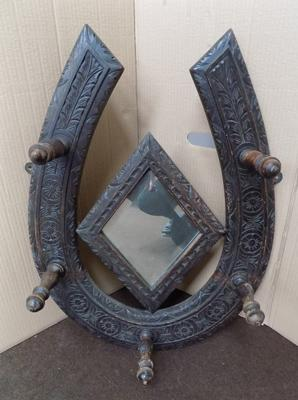 Horse shoe, wooden carved mirror/hat stand
