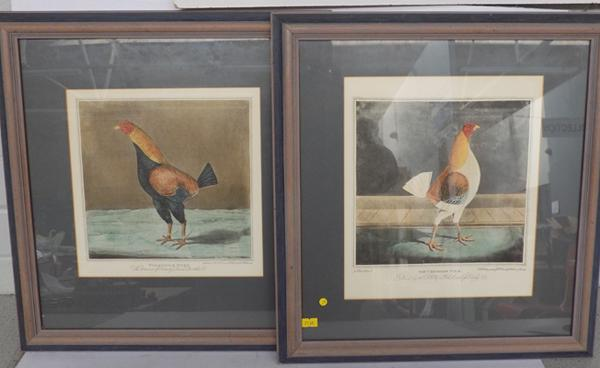 2x Cock fighting prints-'Yorkshire Herd' & The Cheshire Pile'