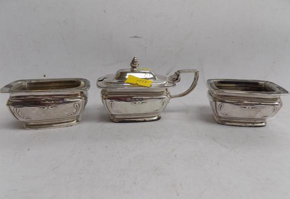 Pair of salts with clear liner & silver mustard pot