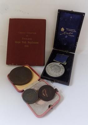 Selection of medals and masonic book