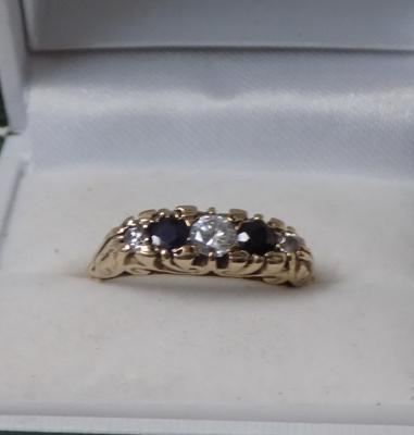 9ct gold diamond and sapphire ring size S 1/2