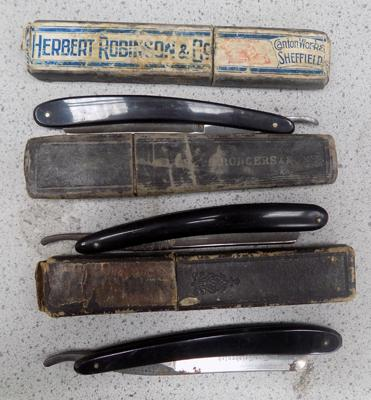 3 vintage cased cut throat razors