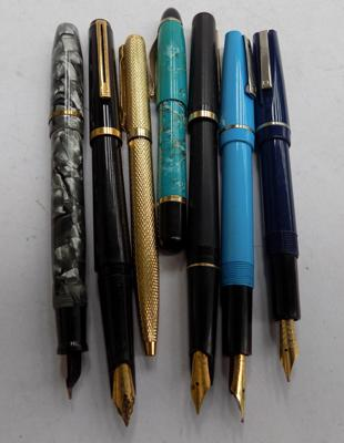 Six fountain pens, 1 ballpoint pen including 1 with 14k nib