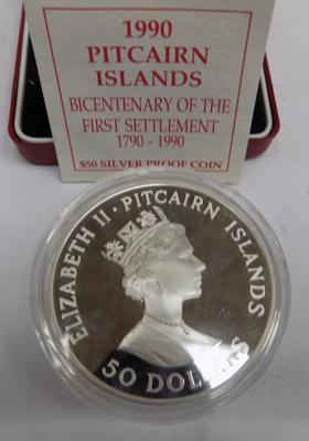 1990 Pitcairn solid silver $50 Dollar coin - 155.6 grams